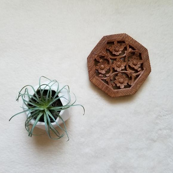 Vintage Floral Wood Hot Pot Holder Plant Stand